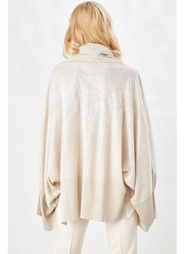 Peraluna Peraluna Bej Rengi Geniş Kollu Salaş Kadın Triko Bluz Bej